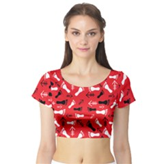 Red Short Sleeve Crop Top by HASHHAB
