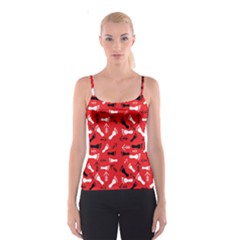 Red Spaghetti Strap Top by HASHHAB