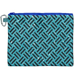 Woven2 Black Marble & Turquoise Glitter Canvas Cosmetic Bag (xxxl)