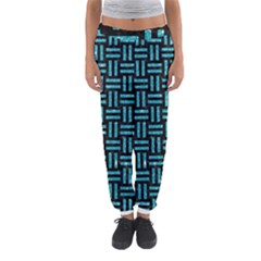 Woven1 Black Marble & Turquoise Glitter (r) Women s Jogger Sweatpants by trendistuff