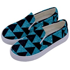 Triangle2 Black Marble & Turquoise Glittertriangle2 Black Marble & Turquoise Glitter Kids  Canvas Slip Ons by trendistuff