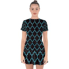 Tile1 Black Marble & Turquoise Glitter (r) Drop Hem Mini Chiffon Dress by trendistuff