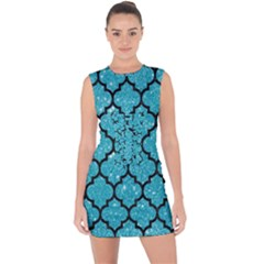 Tile1 Black Marble & Turquoise Glitter Lace Up Front Bodycon Dress
