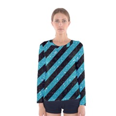 Stripes3 Black Marble & Turquoise Glitter (r) Women s Long Sleeve Tee by trendistuff