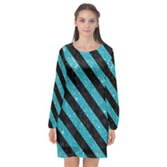 Stripes3 Black Marble & Turquoise Glitter Long Sleeve Chiffon Shift Dress  by trendistuff