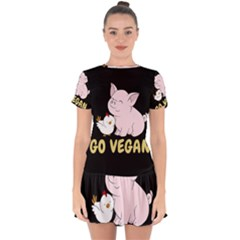 Go Vegan   Cute Pig And Chicken Drop Hem Mini Chiffon Dress by Valentinaart