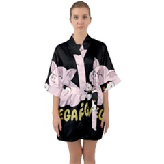 Go Vegan - Cute Pig And Chicken Quarter Sleeve Kimono Robe by Valentinaart
