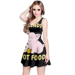 Friends Not Food   Cute Pig And Chicken Reversible Sleeveless Dress
