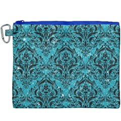 Damask1 Black Marble & Turquoise Glitter Canvas Cosmetic Bag (xxxl) by trendistuff