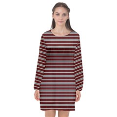 Indian Stripes Long Sleeve Chiffon Shift Dress