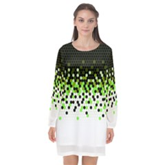 Flat Tech Camouflage Reverse Green Long Sleeve Chiffon Shift Dress  by jumpercat