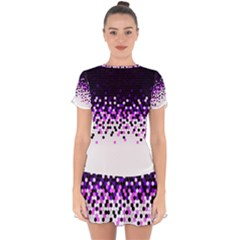 Flat Tech Camouflage Reverse Purple Drop Hem Mini Chiffon Dress
