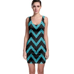 Chevron9 Black Marble & Turquoise Glitter (r) Bodycon Dress by trendistuff
