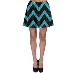 Chevron9 Black Marble & Turquoise Glitter (r) Skater Skirt by trendistuff