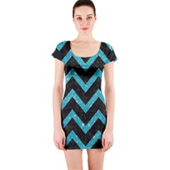 Chevron9 Black Marble & Turquoise Glitter (r) Short Sleeve Bodycon Dress by trendistuff