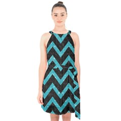 Chevron9 Black Marble & Turquoise Glitter (r) Halter Collar Waist Tie Chiffon Dress by trendistuff