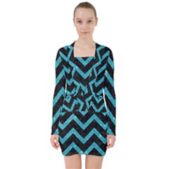 Chevron9 Black Marble & Turquoise Glitter (r) V Neck Bodycon Long Sleeve Dress by trendistuff