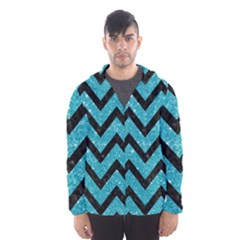 Chevron9 Black Marble & Turquoise Glitter Hooded Wind Breaker (men) by trendistuff