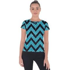 Chevron9 Black Marble & Turquoise Glitter Short Sleeve Sports Top  by trendistuff