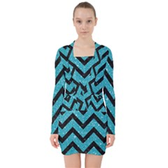 Chevron9 Black Marble & Turquoise Glitter V Neck Bodycon Long Sleeve Dress by trendistuff