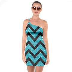 Chevron9 Black Marble & Turquoise Glitter One Soulder Bodycon Dress by trendistuff