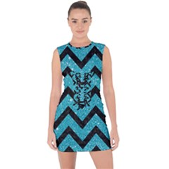 Chevron9 Black Marble & Turquoise Glitter Lace Up Front Bodycon Dress by trendistuff