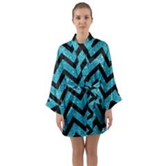 Chevron9 Black Marble & Turquoise Glitter Long Sleeve Kimono Robe by trendistuff