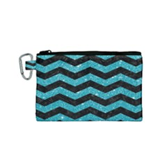 Chevron3 Black Marble & Turquoise Glitter Canvas Cosmetic Bag (small) by trendistuff