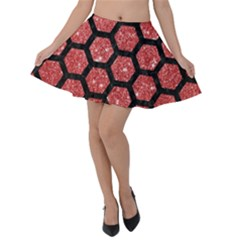 Hexagon2 Black Marble & Red Glitter Velvet Skater Skirt by trendistuff