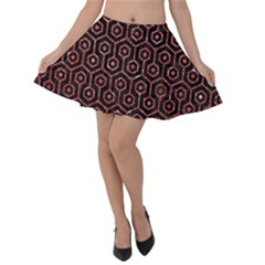 Hexagon1 Black Marble & Red Glitter (r) Velvet Skater Skirt by trendistuff
