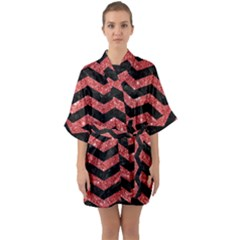 Chevron3 Black Marble & Red Glitter Quarter Sleeve Kimono Robe by trendistuff