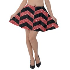 Chevron2 Black Marble & Red Glitter Velvet Skater Skirt by trendistuff
