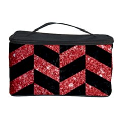 Chevron1 Black Marble & Red Glitter Cosmetic Storage Case by trendistuff