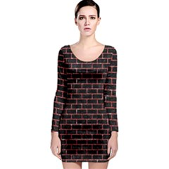 Brick1 Black Marble & Red Glitter (r) Long Sleeve Bodycon Dress