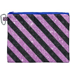 Stripes3 Black Marble & Purple Glitter Canvas Cosmetic Bag (xxxl) by trendistuff