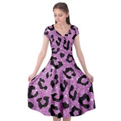 Skin5 Black Marble & Purple Glitter (r) Cap Sleeve Wrap Front Dress by trendistuff
