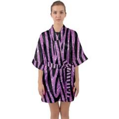 Skin4 Black Marble & Purple Glitter (r) Quarter Sleeve Kimono Robe by trendistuff