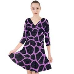 Skin1 Black Marble & Purple Glitter Quarter Sleeve Front Wrap Dress by trendistuff