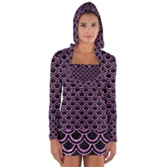 Scales2 Black Marble & Purple Glitter (r) Long Sleeve Hooded T Shirt by trendistuff