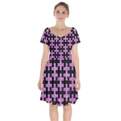 Puzzle1 Black Marble & Purple Glitter Short Sleeve Bardot Dress by trendistuff