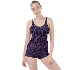 Hexagon1 Black Marble & Purple Glitter (r) Boyleg Tankini Set  by trendistuff