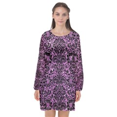 Damask2 Black Marble & Purple Glitter Long Sleeve Chiffon Shift Dress  by trendistuff