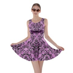 Damask1 Black Marble & Purple Glitter Skater Dress by trendistuff