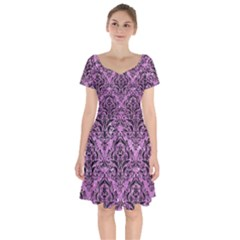 Damask1 Black Marble & Purple Glitter Short Sleeve Bardot Dress
