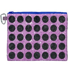 Circles1 Black Marble & Purple Glitter Canvas Cosmetic Bag (xxxl) by trendistuff