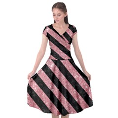 Stripes3 Black Marble & Pink Glitter Cap Sleeve Wrap Front Dress by trendistuff