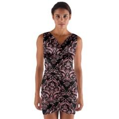 Damask1 Black Marble & Pink Glitter (r) Wrap Front Bodycon Dress by trendistuff
