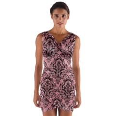 Damask1 Black Marble & Pink Glitter Wrap Front Bodycon Dress by trendistuff