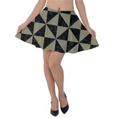 Triangle1 Black Marble & Khaki Fabric Velvet Skater Skirt by trendistuff
