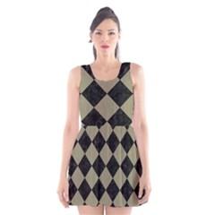 Square2 Black Marble & Khaki Fabric Scoop Neck Skater Dress by trendistuff